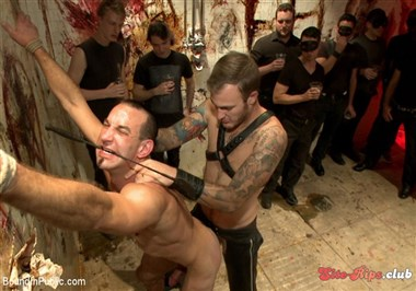 Muscled stud with a big dick cattle prodded and gang fucked
