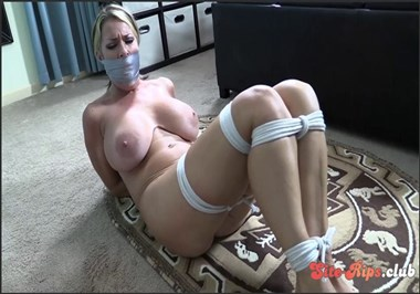 Tied up naked and gagged with her panties